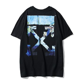 OFF-WHITE 2019 new watercolor oil painting arrow printing men and women round neck half sleeve t-shirt Black