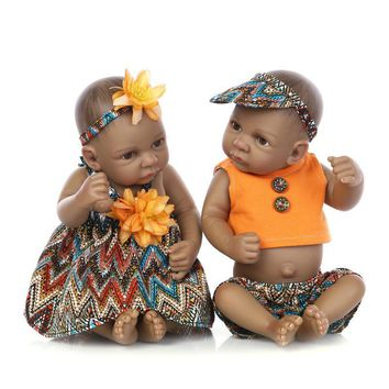 10 inch Black Baby Girl & Boy Reborn Baby Dolls