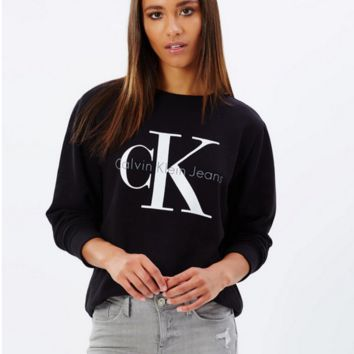 """""""Calvin Klein"""" Printed Womens Casual Long Sleeve Pullovers Sweaters Black"""