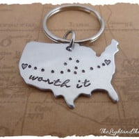 State Key chain  Worth It  Long Distance Relationship Key Chain    Map  USA  LDR  Long Distance Love