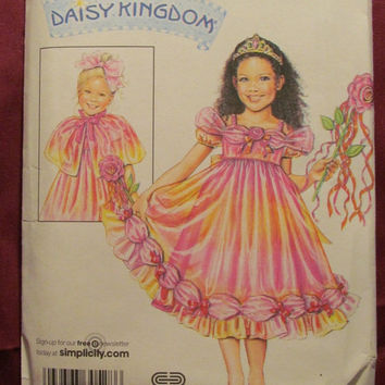 SALE Uncut Simplicity Sewing Pattern, 3865! Sizes 3-4-5-6 Girls/Child/Kids, Flower Girl/Princess/Fairy/Renaissance Dresses/capelet/Poncho/Ov