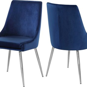 Karina Navy Velvet Dining Chair (set of 2)