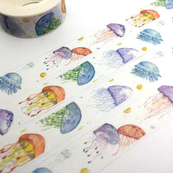 jellyfish tape 10M beautiful jellyfish washi tape Watercolor jelly fish sticker tape fancy underwater world planner gift diary scrapbook