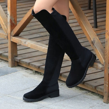 Winter Shoes Leather Stretch Boots [9432942858]