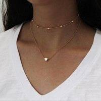 Infery Fashion Retro Choker Chain Necklace Simple 2 Layer Collar Heart Love Satement Necklace For Women Jewelry Bijoux 1N753