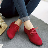 England Style Square Toe With Heel Plus Size Shoes [6366197700]