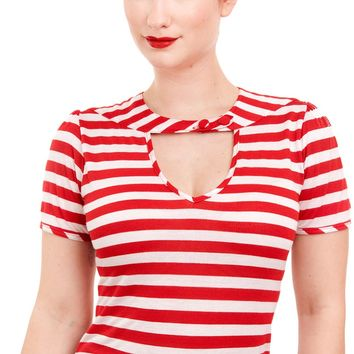 Striped Sneak Preview Top in Red | Blame Betty