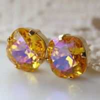 NEW: Pansy, Sunflower Earrings, Cushion Cut Square, Swarovski Crystal Stud Earrings, Gold Stud