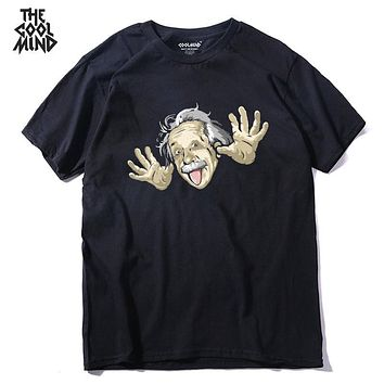 COOLMIND QI0214A  cool loose 100% cotton funny men T shirt casual new design short sleeve fashion summer printed T-shirt tees