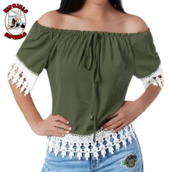 New fashion lace top women short sleeve top women Army Green