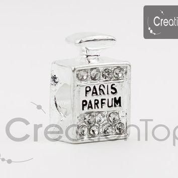 Charm for any Pandora bracelet bead rhinestone paris parfum bottle shaped european bea