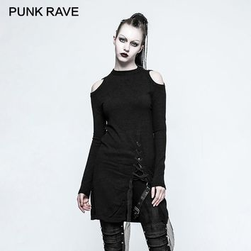 PUNK RAVE 2019 Gothic Women Knitted Sweater Winter Black Round Neck Strapless Long Ladies Sweaters Dress Rock Harajuku Sweater