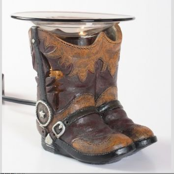 Cowboy Cowgirl Boots Table Fragrance Aroma Lamp Oil Diffuser Wax Tart Candle Warmer Burner Home Decor