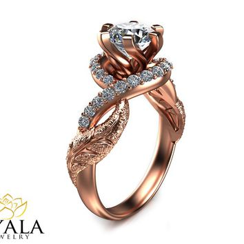 14K Rose Gold Diamond Ring,Art Deco Engagement ring,Leaf Ring,By Ayala Jewelry.