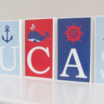 Nautical Name Blocks, Whale, Anchor, Baby Name Blocks, Baby Gift, Baby Shower, Baby Boy, Nursery Girl Boy Letters, Name  Blocks, Photo Prop
