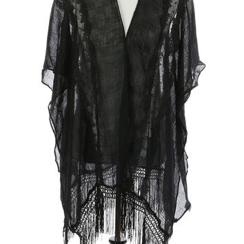 Black Lace Crochet Sheer Coverup Poncho