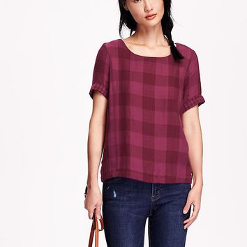Old Navy Womens Boxy Plaid Top