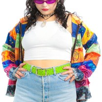 Vintage 90's PLUR Patchwork Rave Hoodie - One Size Fits Many