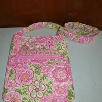 Vera Bradley Petal Pink Retired Pattern Large Hipster Multicolored Cross Body Bag