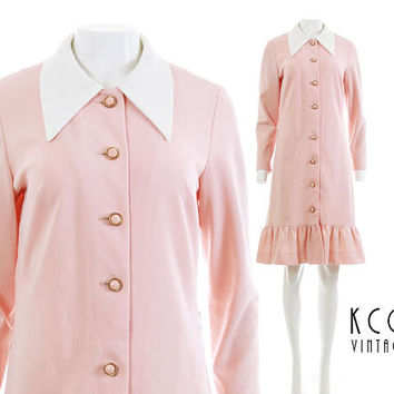 "60s Mod Dress Collared Dress Long Sleeve Dress Pastel Pink Dress Kawaii Pastel Goth 60s Clothing Vintage Clothing Women's Size M/L 40"" Bust"