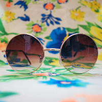 Round Lennon Brown Sunglasses Ombre Hippie Glasses - Lennon
