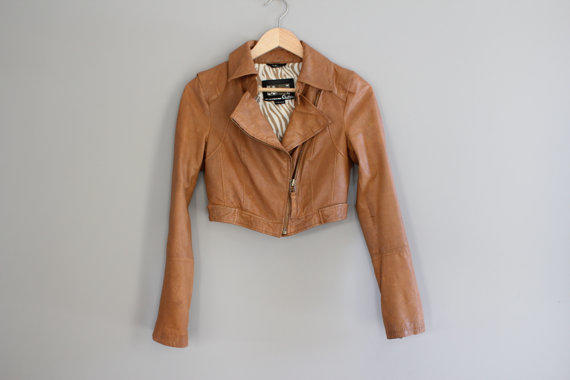 Brown Leather Biker Jacket Sofe Genuine from Amilialia on Etsy