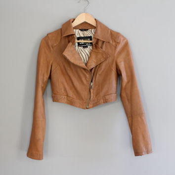 Brown Leather Biker Jacket Sofe Genuine Leather Cropped Biker Jacket Satin Lining Petite Biker Jacket Vintage Size XS #O140A