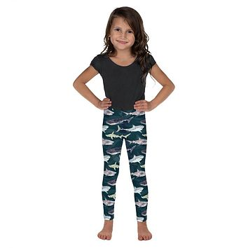 Girls Sea Sharks Pattern Toddler and Kid's Leggings with Great White Sharks, Whale Sharks and Hammerheads