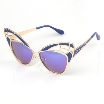 Cats Butterfly Hollow Out Strong Character Ladies Sunglasses [6592751299]