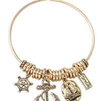 Gold Plated Dream and Anchor Charm Bracelet