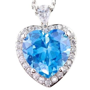 Heart of Ocean Large Halo Heart Necklace Pendant Birth Month Colors