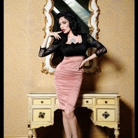 Deadly Dames Je T'Adore Dress in Mauve  | Pinup Girl Clothing