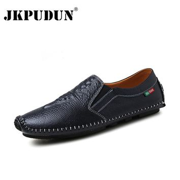 JKPUDUN Designer Summer Shoes Men High Quality Crocodile Leather Mens Boat Shoes Casual Penny Loafers Luxury Brand Moccasins
