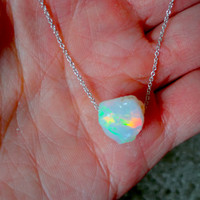 Large Rough Opal Pendant and 925 Sterling Silver or 14k Gold Fill Chain Necklace