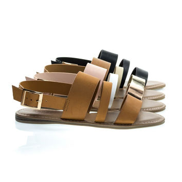 Bliss52m Solid Tan By Bamboo, Multi Colored Open Toe Flat Sandal In Faux Leather 7 Metallic Straps