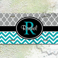 Cute License Plate - Turquoise chevron, Gray moroccan pattern and Black monogram label, name license plate, monogram vanity car tag