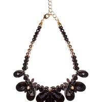 Black statement jewel bib necklace