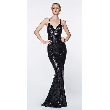 Long Fitted Sequin Gown Black Sheath V-Neckline Criss-Cross Back