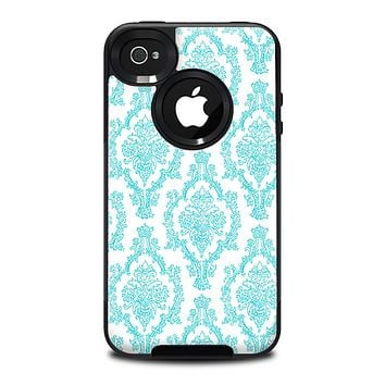 The Fancy Laced Turquiose & White Pattern Skin for the iPhone 4-4s OtterBox Commuter Case
