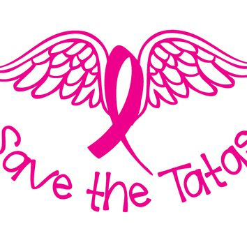 Breast Cancer, Save The Tatas (wings), Vinyl Graphic Decal Sticker Vehicle Car Truck Window Wall Laptop - High Quality Outdoor Rated Vinyl + FREE DECAL