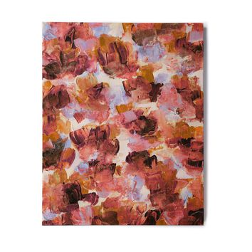 """Ebi Emporium """"Floral Spray 3"""" Purple Lavender Floral Abstract Painting Mixed Media Birchwood Wall Art"""