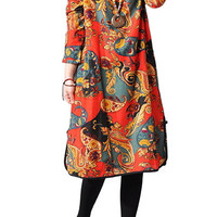 Red Retro Abstract Print Midi Dress