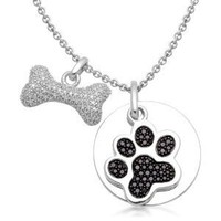 Sterling Silver Black and White Diamond Dog Paw and Bone Pendant Necklace (1/2 cttw, I-J Color, I2-I3 Clarity), 18""