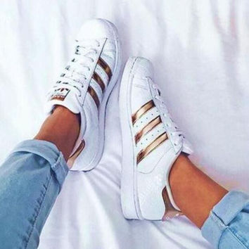 """""""Adidas"""" Fashion Shell-toe Flats Sneakers Sport Shoes White rose golden line"""