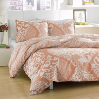 City Scene Medley Coral Cotton Reversible 3-piece Comforter Set | Overstock.com Shopping - The Best Deals on Comforter Sets