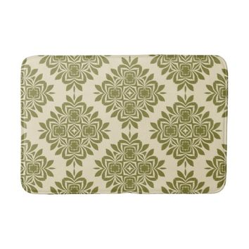 Green Mint Damask Pattern Bath Mat
