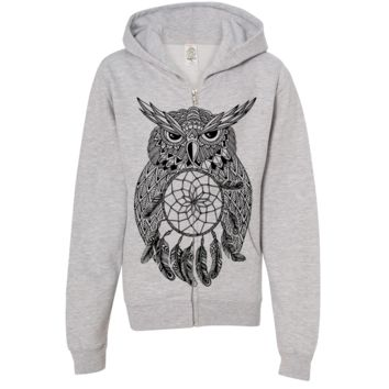 Owl Dreamcatcher Stencil Black Premium Youth Zip-Up Hoodie