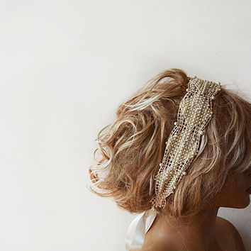 Pearl Headband, Bridal Pearl Headband , Lace ivory Pearl, Wedding Head Piece, Bridal Hair Accessory, Vintage Style, wedding accessory