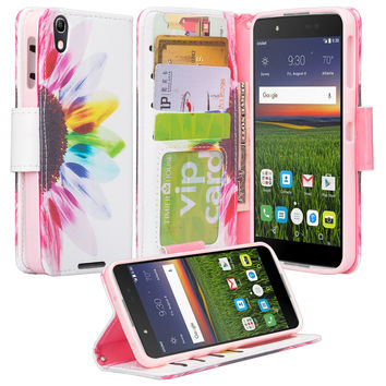 Alcatel Idol 4 Case, Idol 4 Wallet Case, Wrist Strap [Kickstand] Pu Leather Wallet Case with ID & Credit Card Slots - Vivid Sunflower