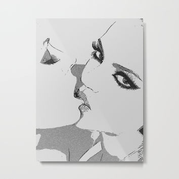 Dirty girls love to play some Naughty games - sexy lesbians kissing, biting lips, hot erotic artwork Metal Print by Casemiro Arts - Peter Reiss